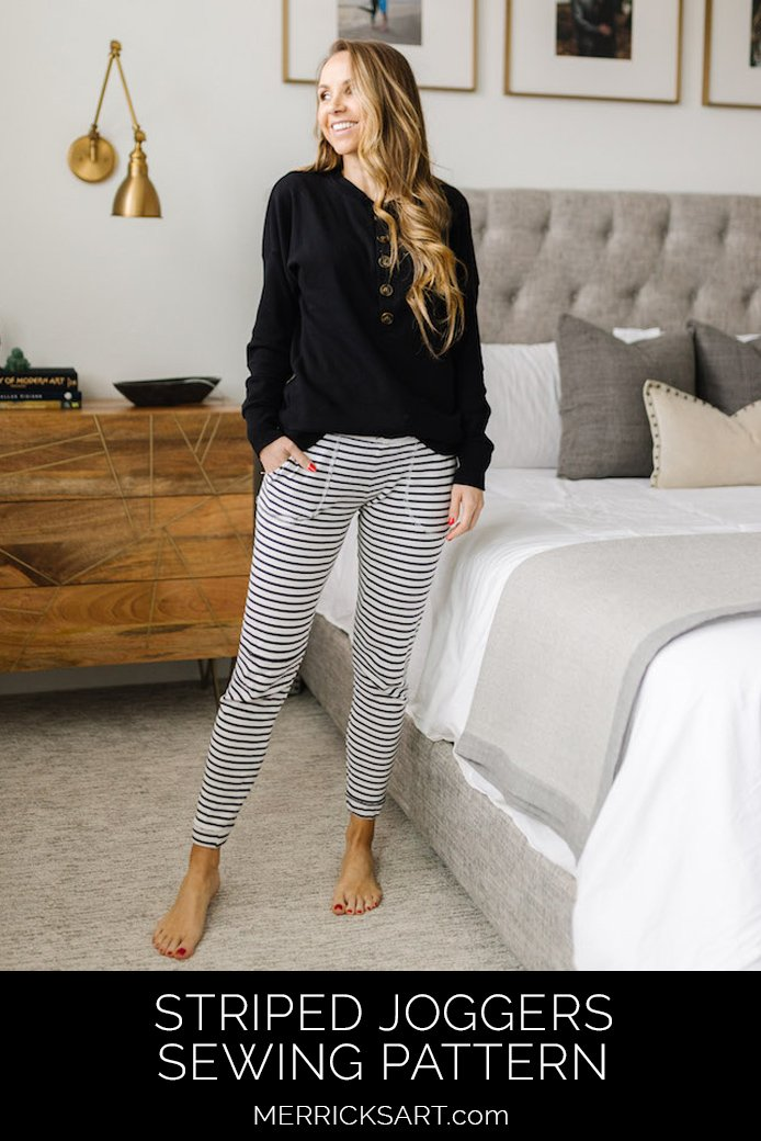 striped joggers in modern bedroom