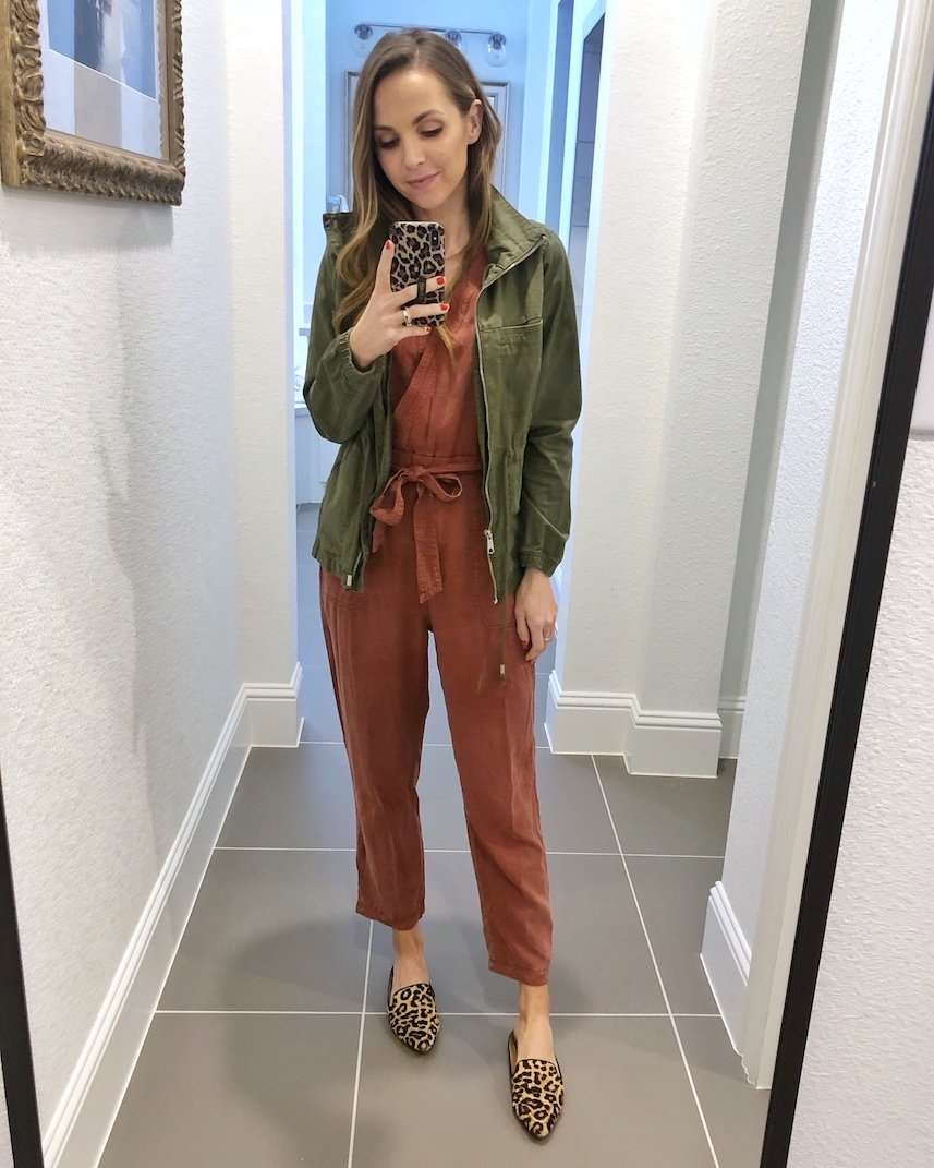 olive jacket with jumpsuit