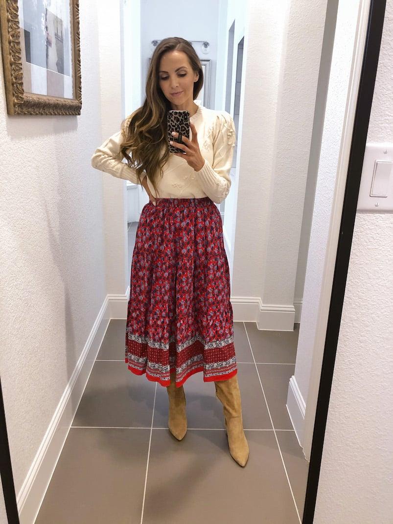 midi skirt outfit loft tiered midi skirt