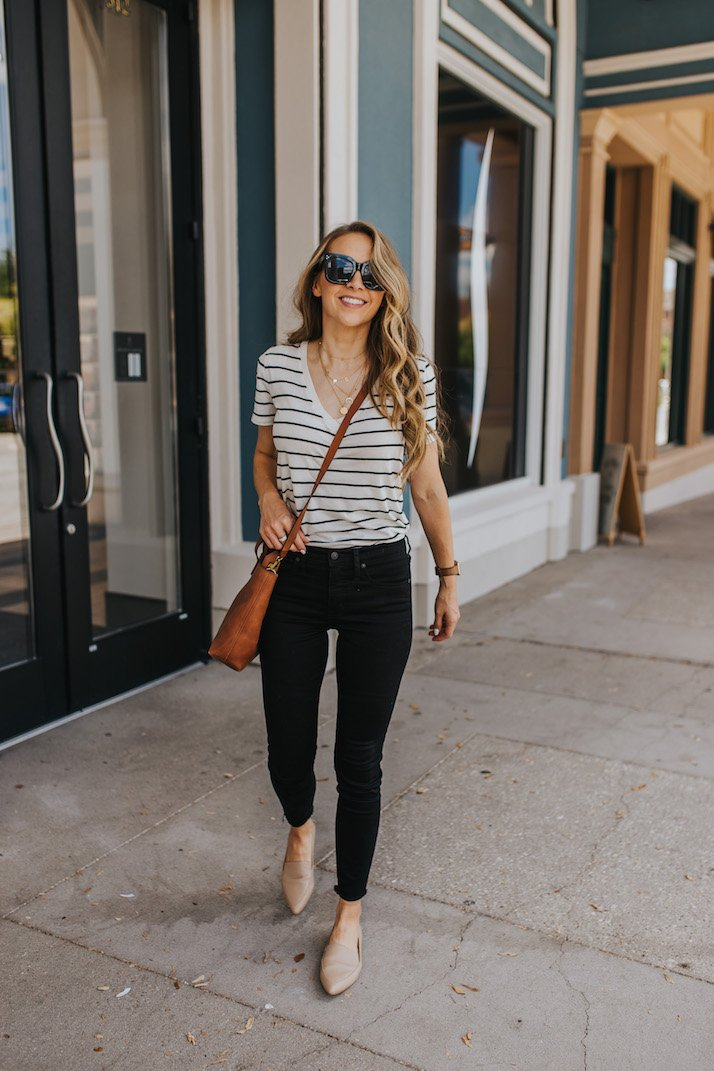 Striped v-neck tee and black jeans