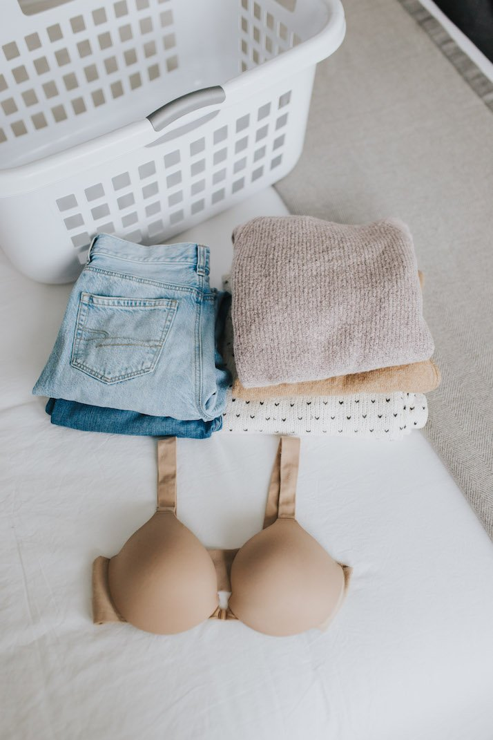 spanx bra with folded laundry