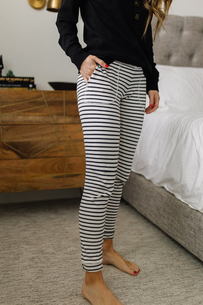 womens striped joggers