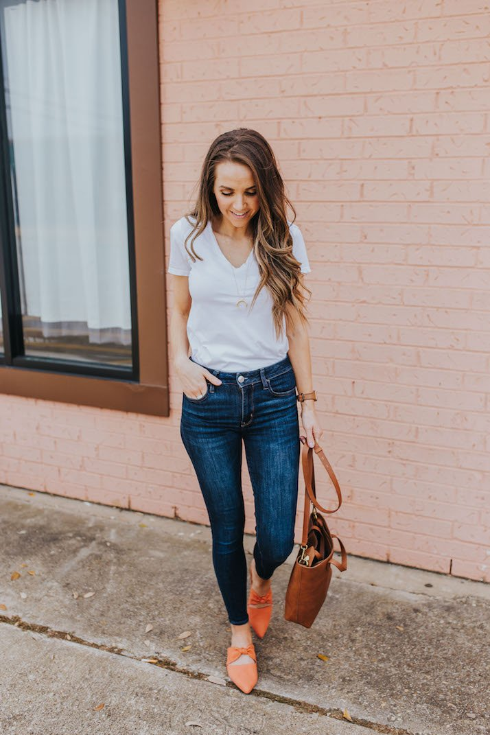 t-shirt and jeans with statement flats