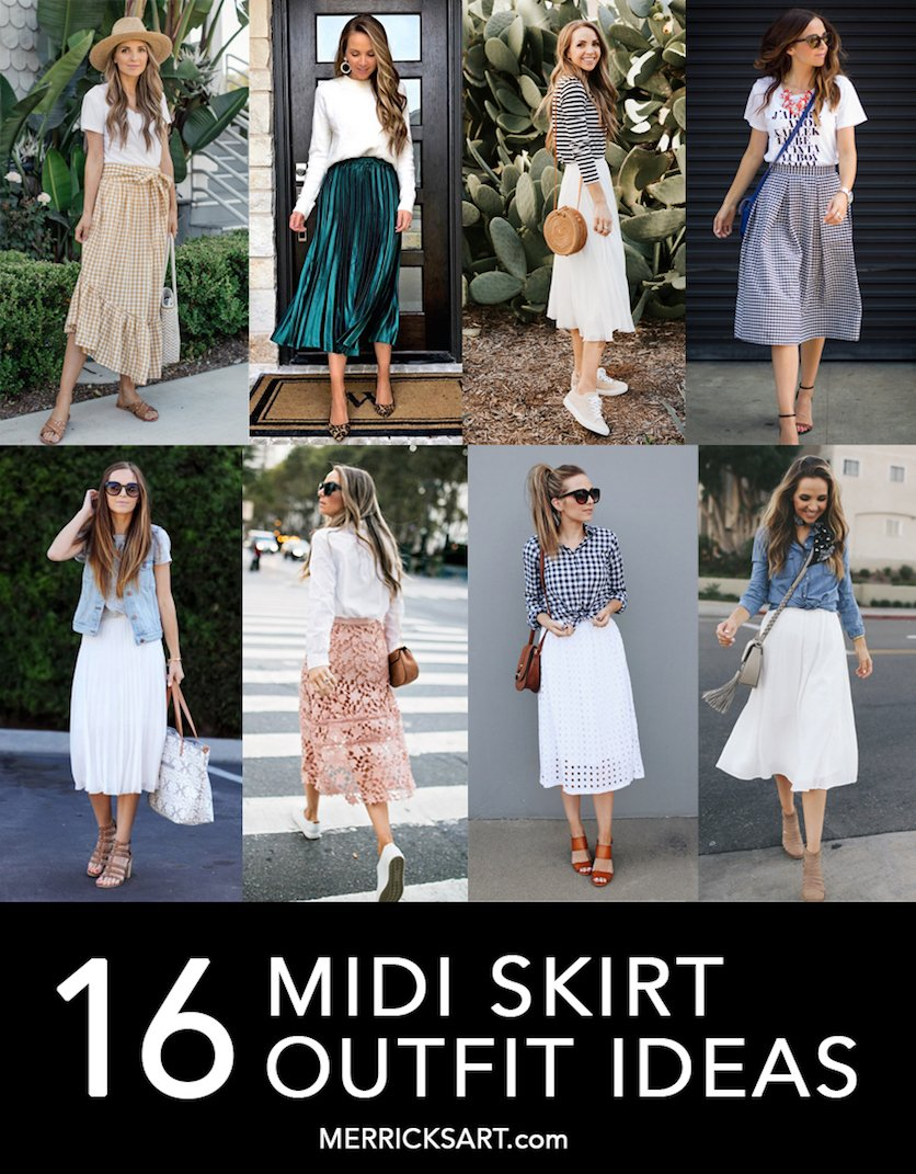 collage of midi skirt outfit idea