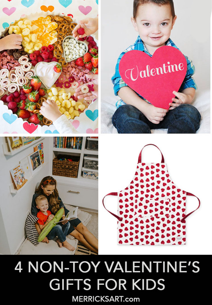collage of non-toy valentines gifts for kids