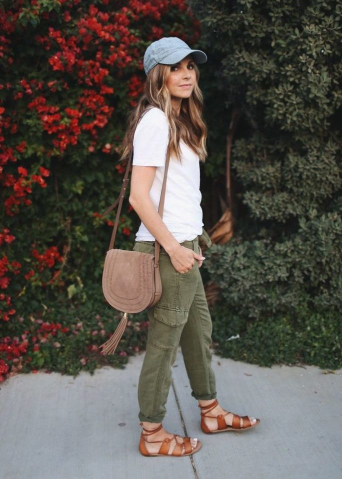 white t-shirt and olive joggers