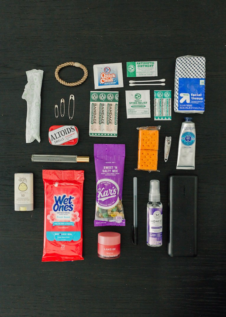 purse essentials flat lay