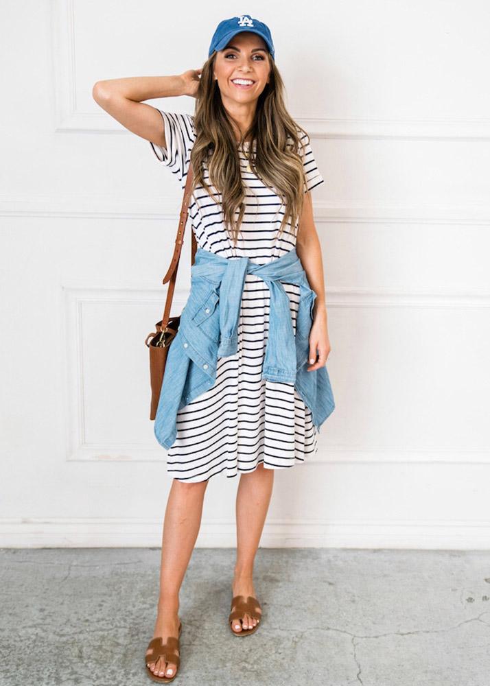 weekend recap - striped t-shirt dress