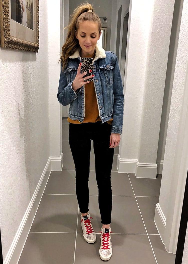 weekend recap - denim jacket and black jeans