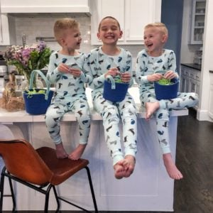 boys in the kitchen with matching pajamas