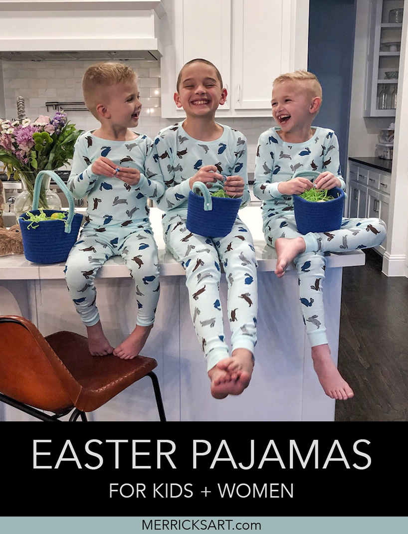 boys on the counter with easter pajamas