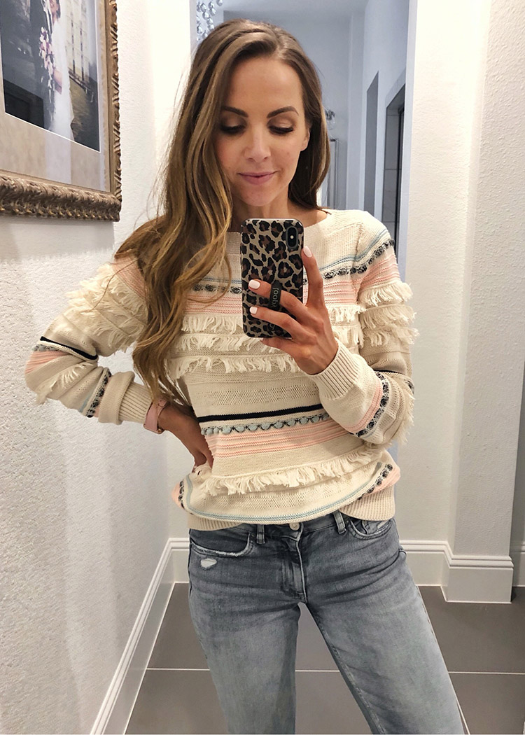 weekend recap - fringe sweater and jeans