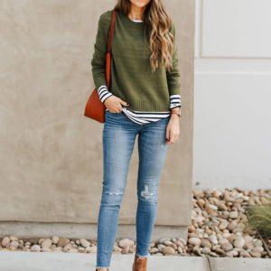 layered shirts - olive green sweater and striped tee