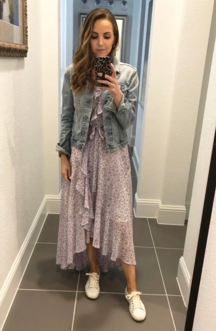 purple gal meets glam floral ruffle dress with denim jacket