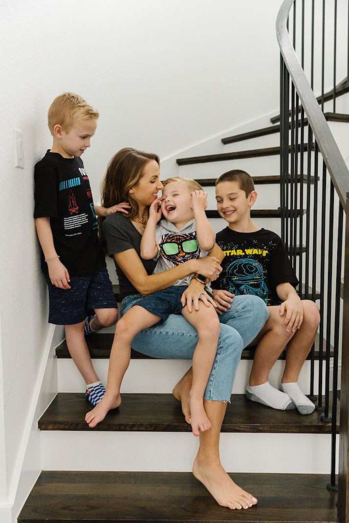mom and boys on the stairs