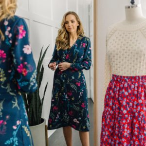 floral dress in the mirror