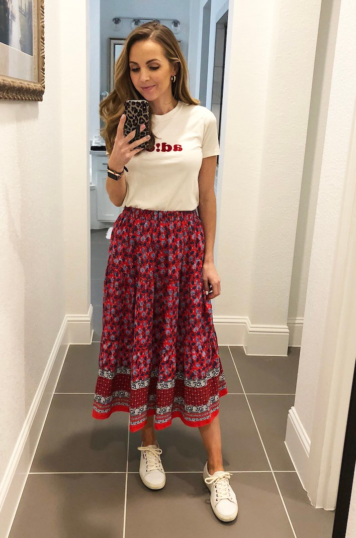red midi skirt and graphic tee