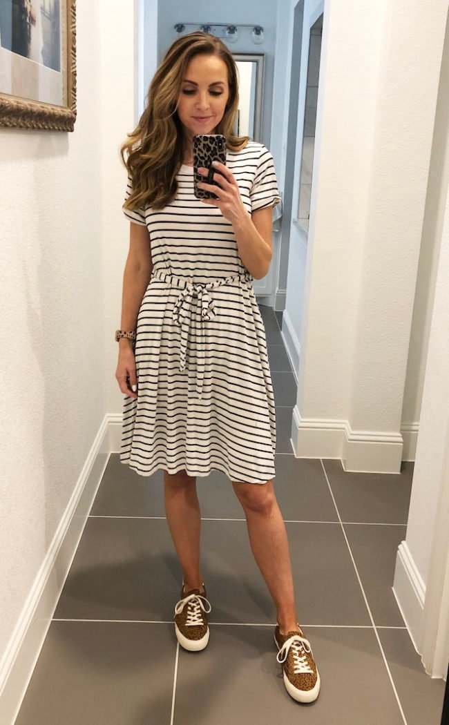 striped merrick white dress with leopard sneakers