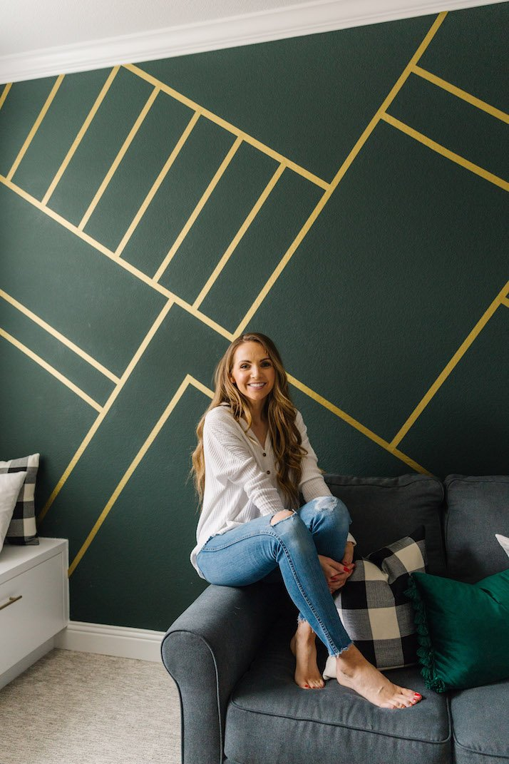 gold and green wallpaper wall mural