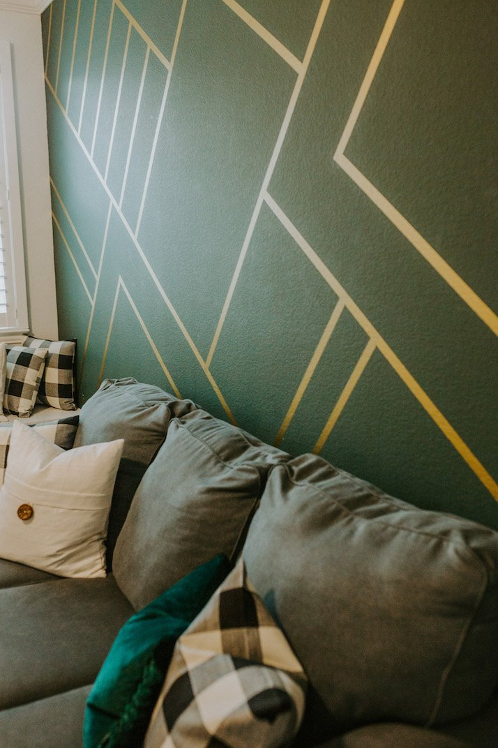 wallpaper wall mural green and gold