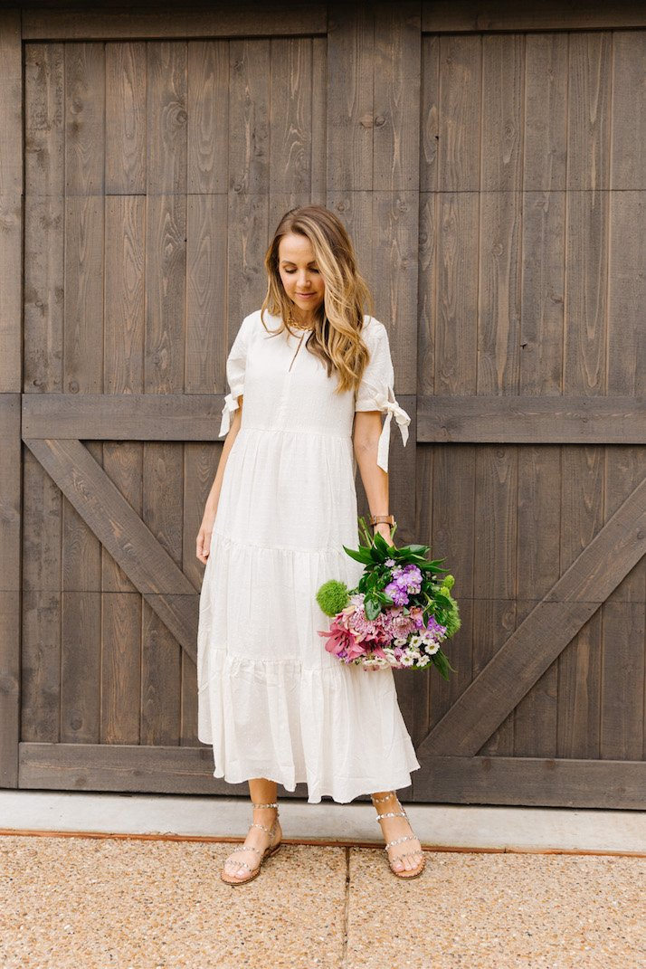 white madewell dress, studded sandals