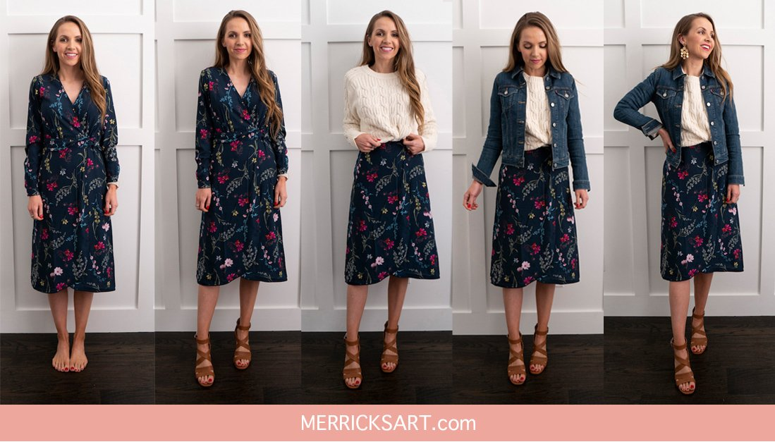 collage step by step outfit with floral walmart dress