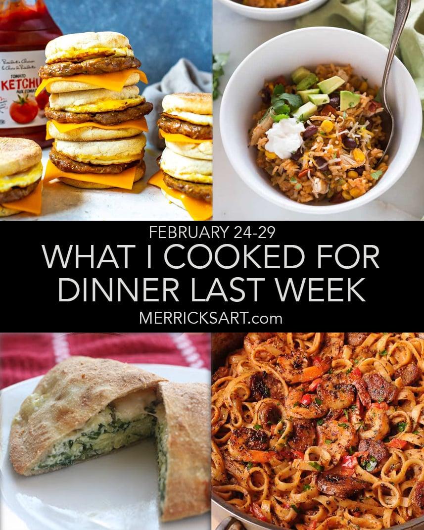 collage of weekly menu dinner ideas