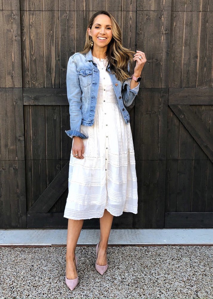 weekend recap - white dress and denim jacket