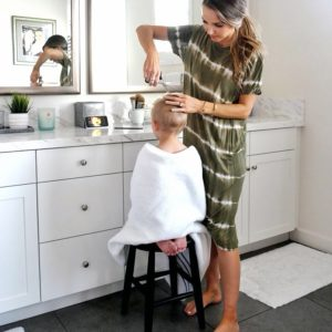 haircut at home in the bathroom