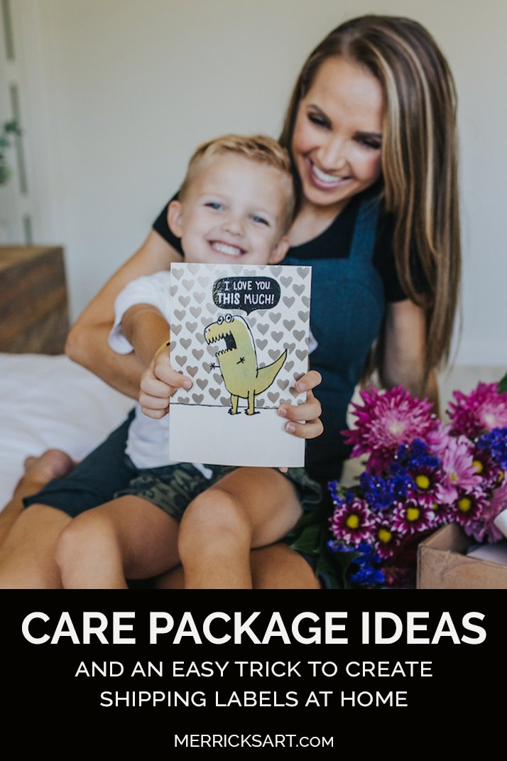 pinterest graphic with care package ideas