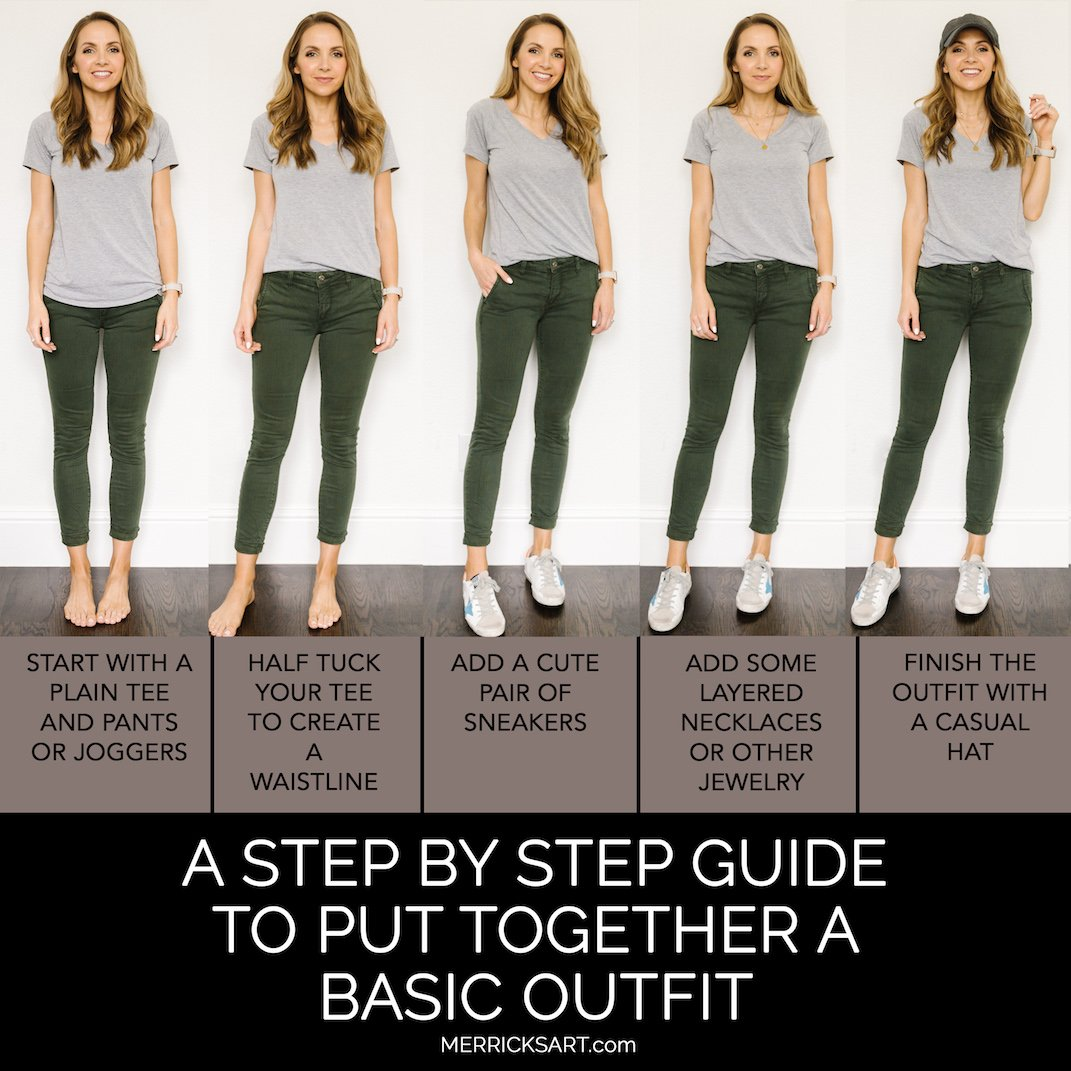 basic outfit with gray tee and olive pants