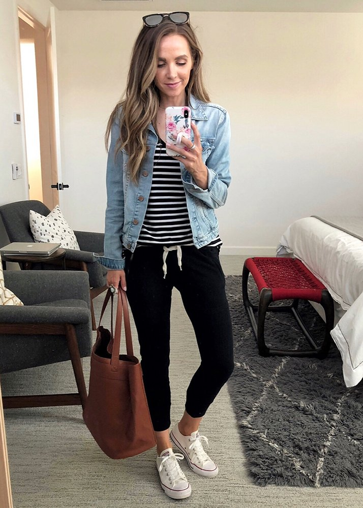 weekend recap - denim jacket and black joggers