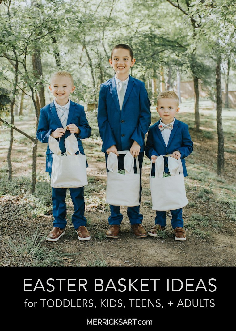 boys in suits with easter baskets