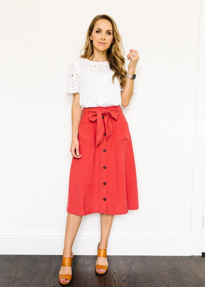 red old navy skirt with eyelet top