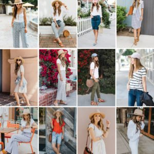 collage of hat outfits