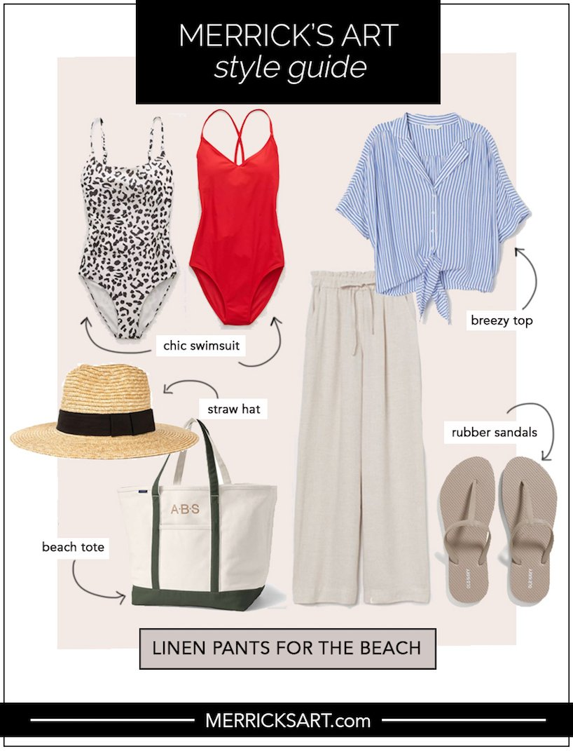 linen pants outfit ideas for the beach or pool