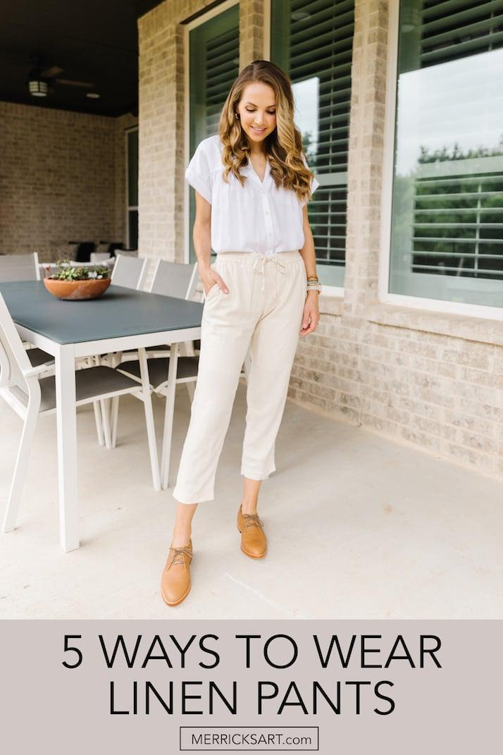 cream linen pants cropped