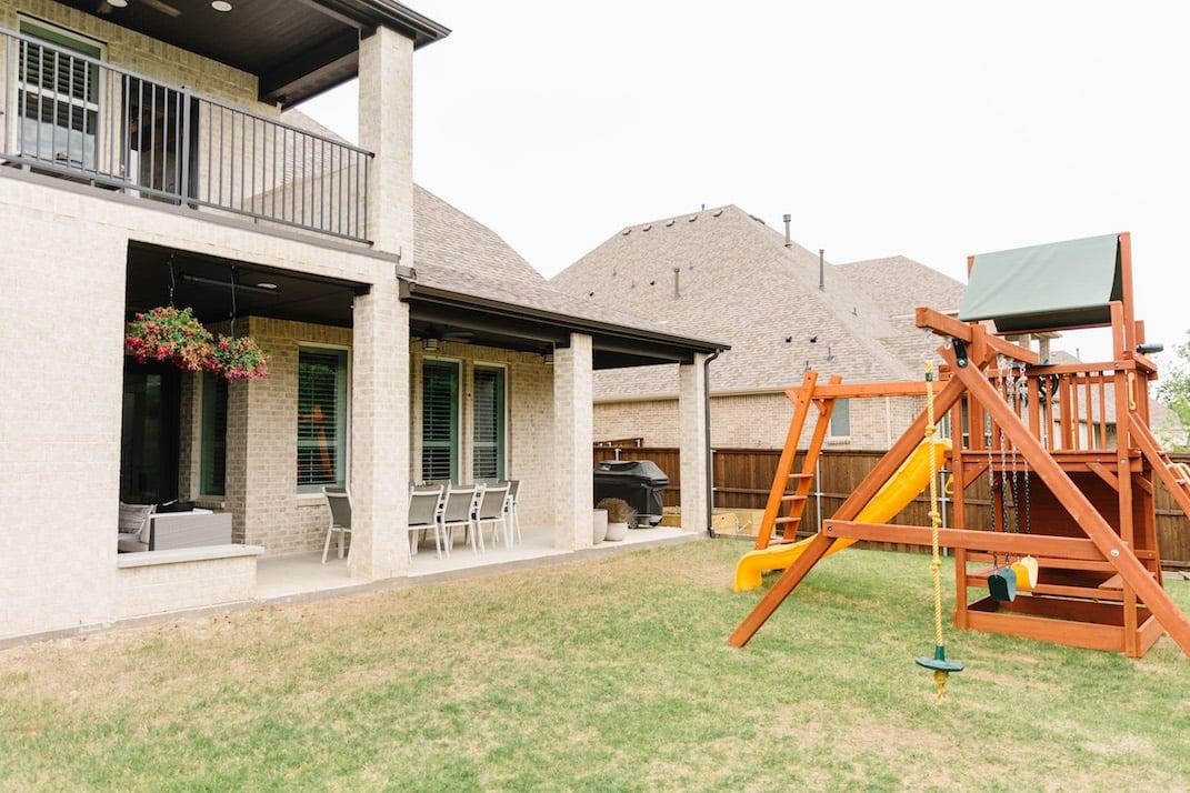 texas backyard with playset
