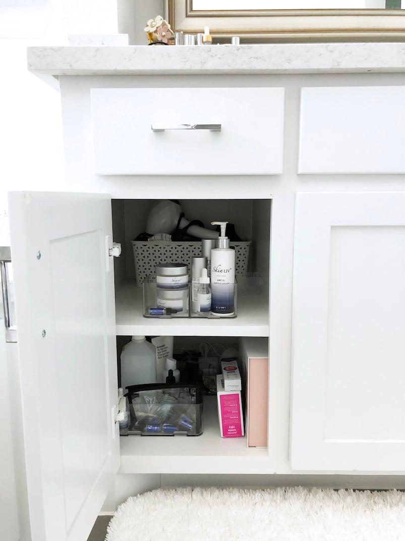 bathroom cupboard clean and organized