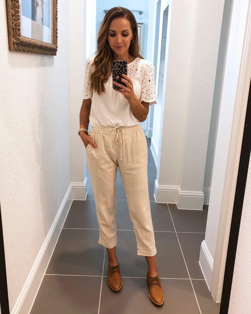 cream linen pants with white tee