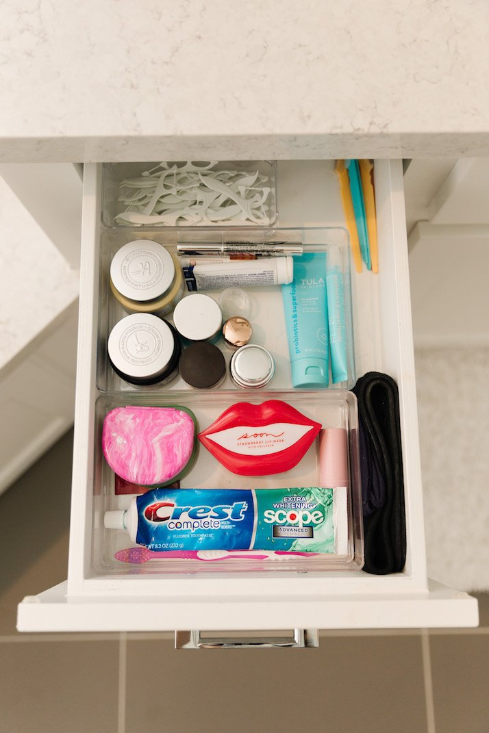 organized drawers for toothbrush