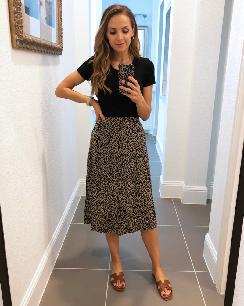 old navy leopard midi skirt