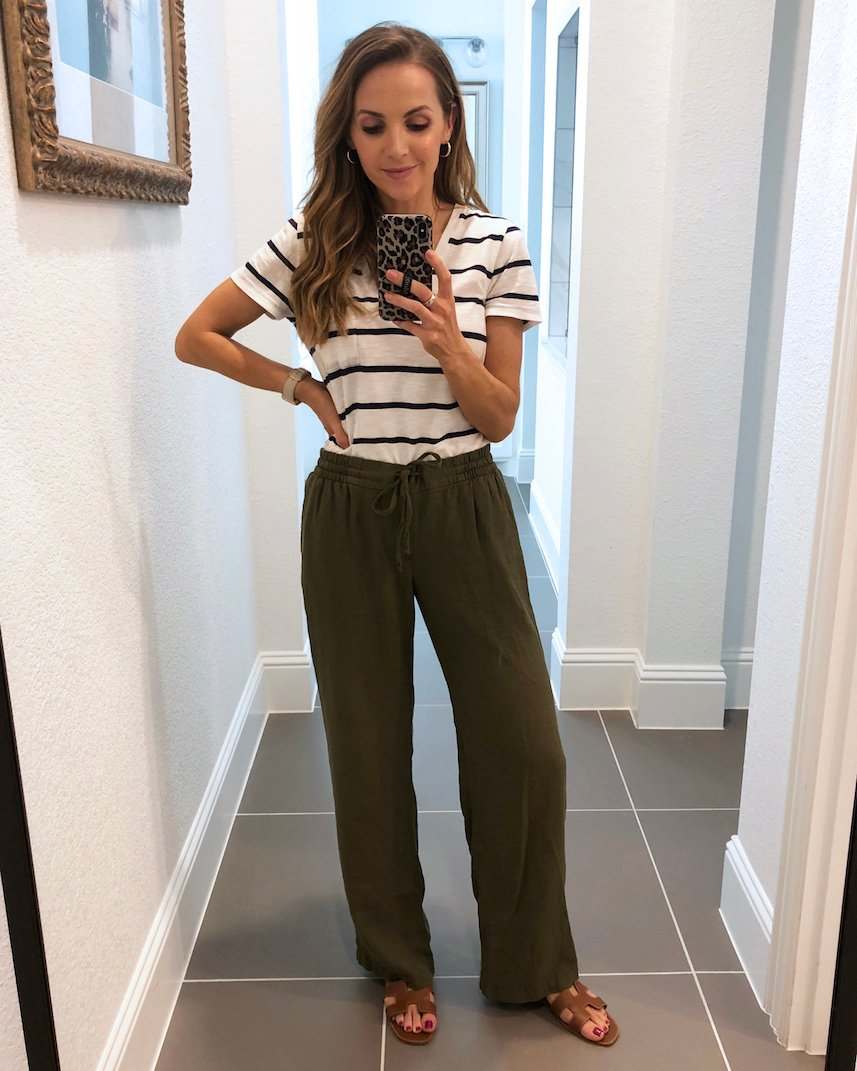 old navy linen pants and striped tee
