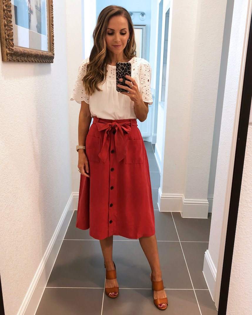 eyelet top and pink skirt