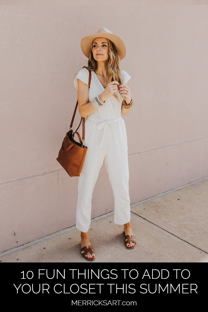 white jumpsuit with felt fedora hat