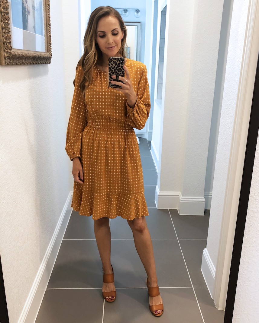 old navy mustard yellow fit and flare dress
