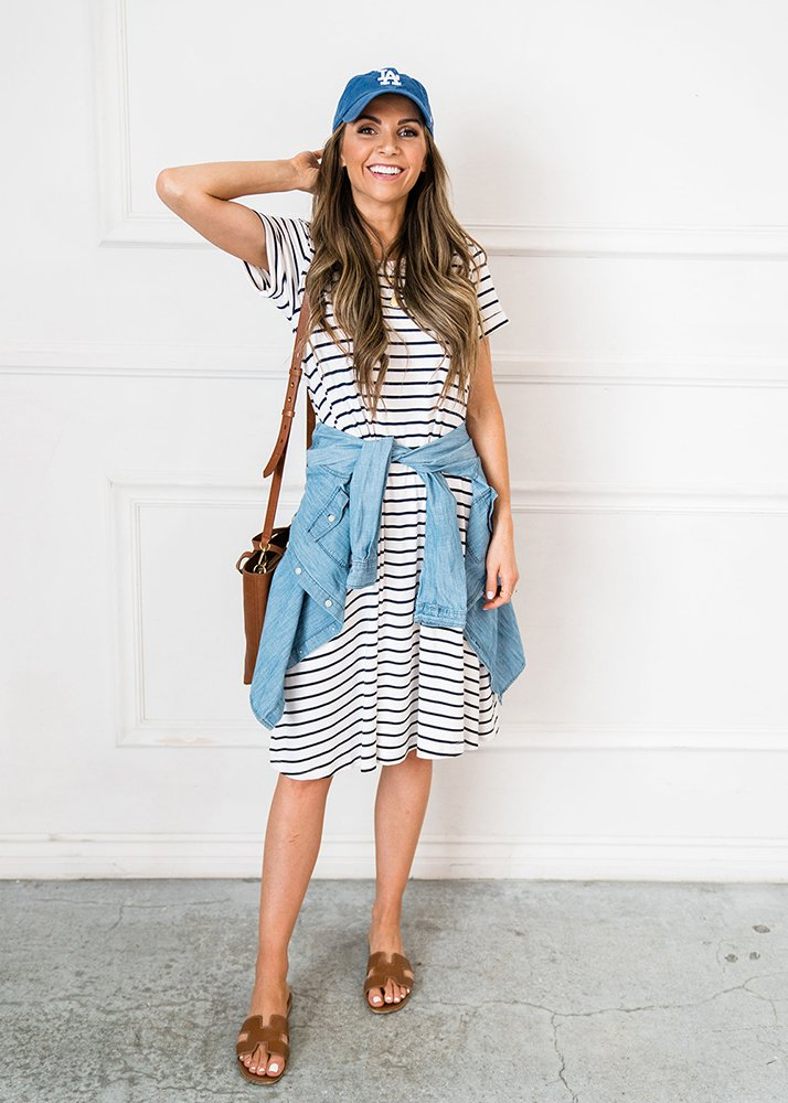 navy blue striped dress and chambray top