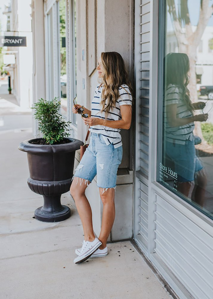 navy striped top and bermuda shorts