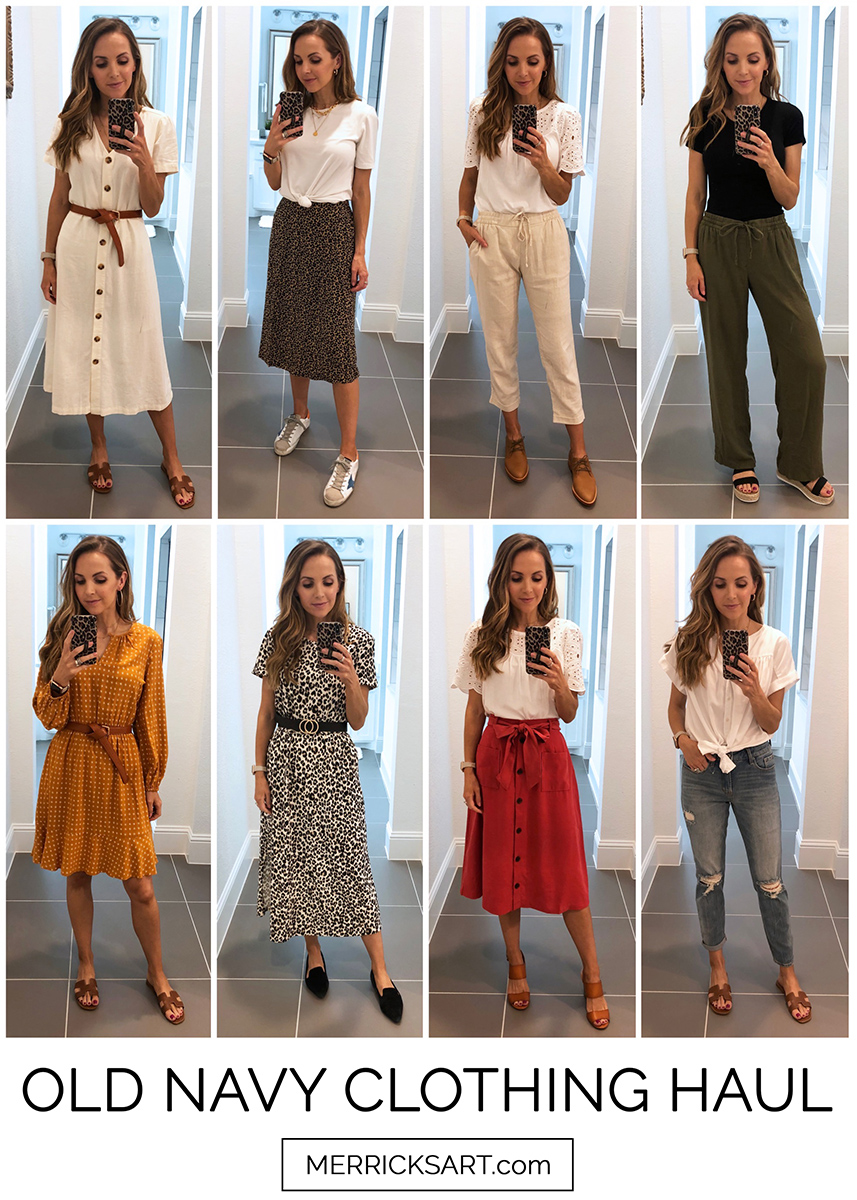 collage of old navy outfits