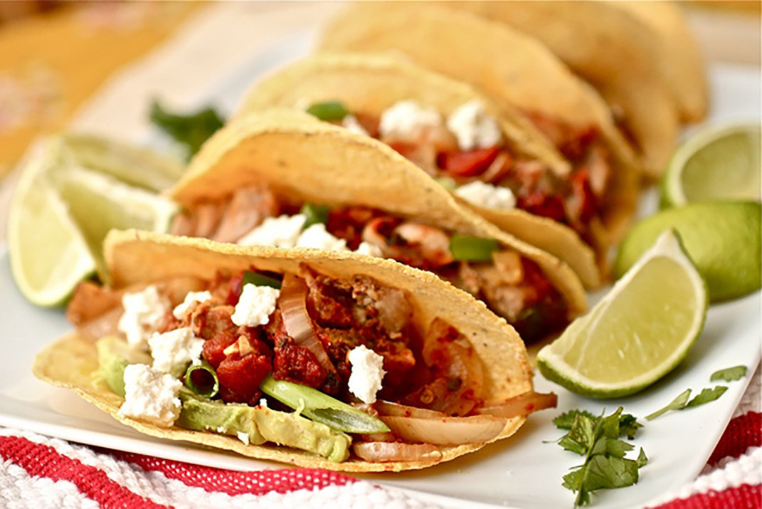 spicy pork tinga tacos